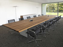 Contemporary conference table / wooden / rectangular / round