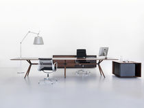 Executive desk / solid wood / steel / contemporary