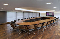 Contemporary conference table / solid wood / rectangular / oval