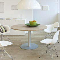 Contemporary table / wooden / metal / round