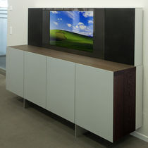 Contemporary TV cabinet / solid wood / steel / aluminum