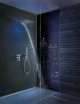 Wall-mounted shower head / rectangular / waterfall