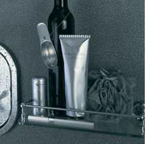 Wall-mounted shelf / contemporary / chromed metal / glass