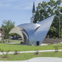 Stainless steel sculpture / for public spaces / outdoor