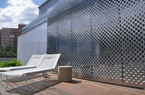 Stainless steel solar shading / for facades / perforated / sliding