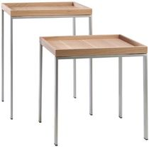 Contemporary side table / solid wood / rectangular / contract