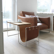 Contemporary side table / leather / rectangular / contract