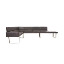 Modular upholstered bench / contemporary / stainless steel / gray