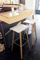 Contemporary bar stool / solid wood / plywood / steel