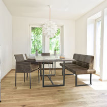 Contemporary dining table / solid wood / steel / rectangular