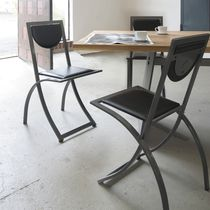Contemporary visitor chair / metal / wooden