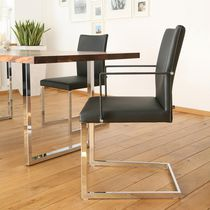 Contemporary visitor chair / upholstered / with armrests / cantilever
