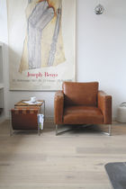 Contemporary lounge chair / fabric / steel / sled base