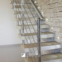 Straight staircase / wooden steps / stainless steel frame / without risers