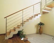 Straight staircase / quarter-turn / wooden steps / metal frame