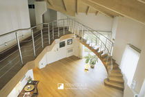 Circular staircase / wooden steps / wooden frame / with risers