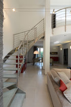 Helical staircase / glass steps / stainless steel frame / without risers