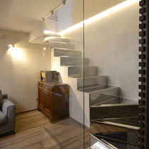 Half-turn staircase / stainless steel steps / stainless steel frame / with risers