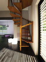 Square spiral staircase / wooden steps / wooden frame / without risers