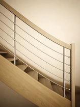 Indoor railing / wooden / stainless steel / with bars