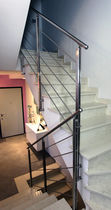Indoor railing / stainless steel / with bars / for stairs