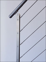 Stainless steel railing / cable / indoor / for stairs