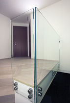 Indoor railing / glass / with bars / for stairs