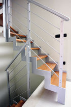 Indoor railing / metal / with bars / for stairs