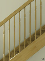 Indoor railing / wooden / with bars / for stairs