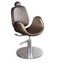 Metal makeup chair / synthetic leather / adjustable / with headrest