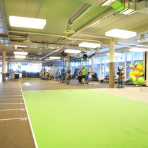 Rubber flooring / for sports facilities / textured / fabric look