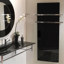 Electric radiator / tempered glass facing / contemporary / vertical