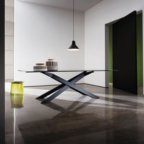 Contemporary dining table / wooden / metal / tempered glass