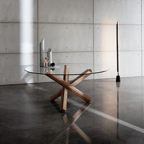 Contemporary table / wooden / glass / lacquered wood