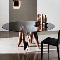 Contemporary dining table / glass / oak / walnut