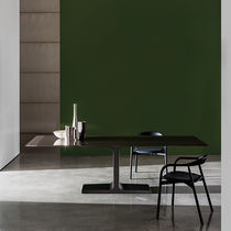 Contemporary dining table / glass / lacquered wood / ceramic