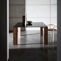 Contemporary dining table / wood veneer / tempered glass / rectangular