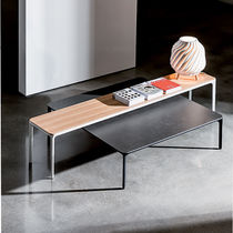 Contemporary coffee table / lacquered wood / birch / lacquered glass