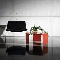 Contemporary coffee table / glass / hexagonal