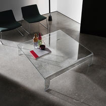 Contemporary coffee table / glass / rectangular / square