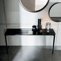 Contemporary sideboard table / glass / tempered glass / lacquered aluminum