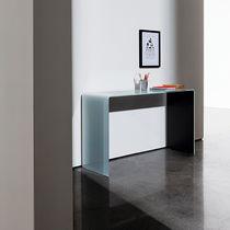 Contemporary sideboard table / glass / walnut / rectangular