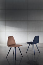 Contemporary chair / upholstered / stackable / metal
