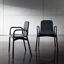 Contemporary chair / with armrests / stackable / ash