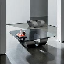 Contemporary coffee table / glass / square