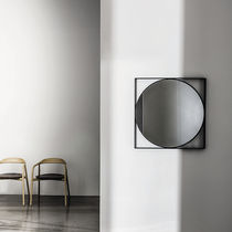 Wall-mounted mirror / contemporary / square / brass
