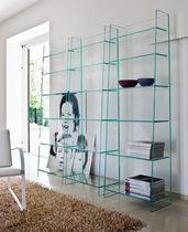 Contemporary bookcase / glass