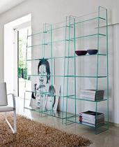 Contemporary bookcase / glass