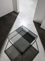 Contemporary coffee table / glass / lacquered metal / square