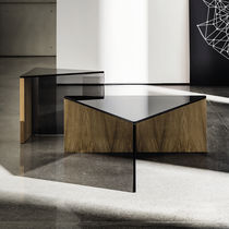 Contemporary coffee table / wooden / glass / laminate